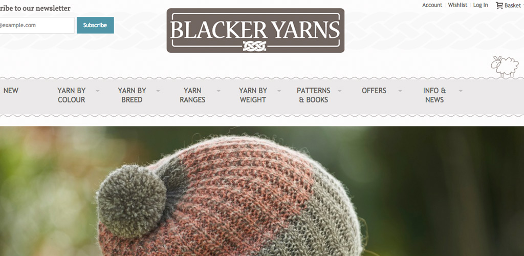 Blacker Yarns website homepage