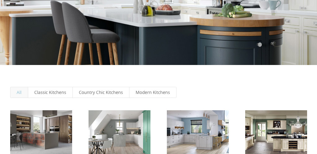 Armada Kitchens website image of categories