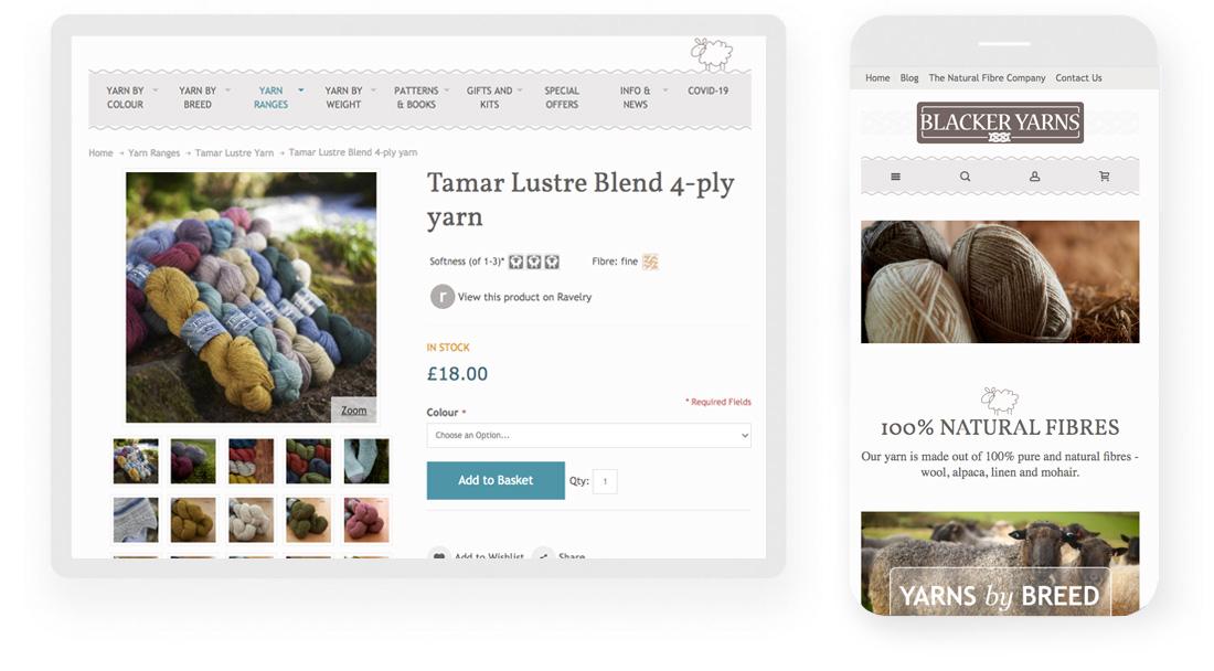 Blacker Yarns website screenshot