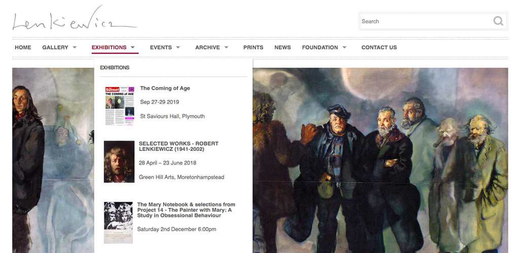 Image of the Lenkiewicz Foundation website