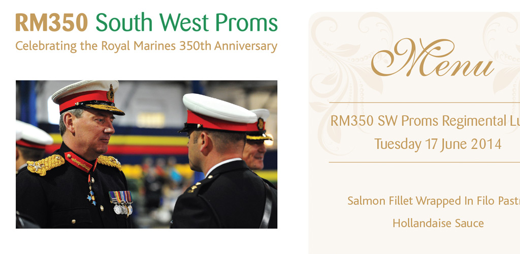 RM350 South West Proms dinner menu