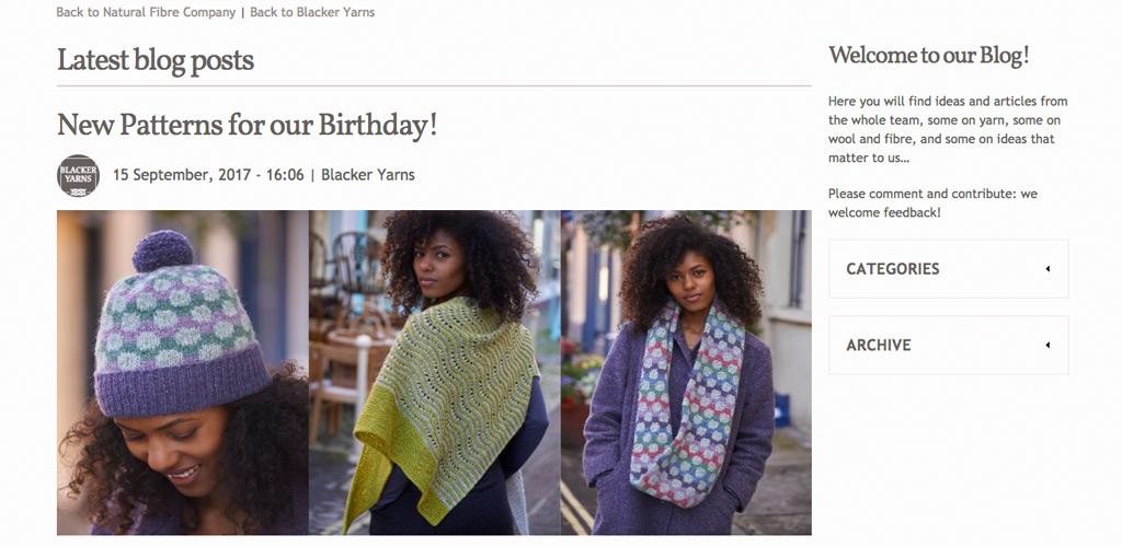 Blacker Yarns blog design