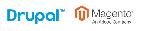 Drupal and Magento logos