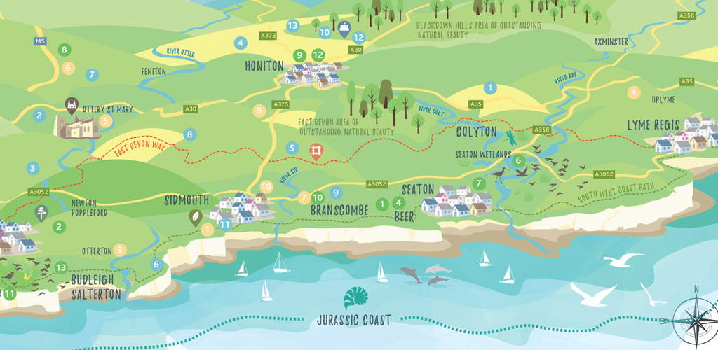 Map illustration and design for East Devon Excellence