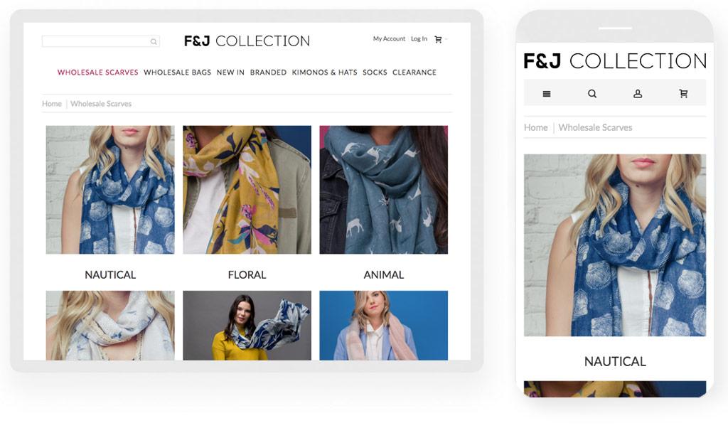 F & J Collection website screenshot