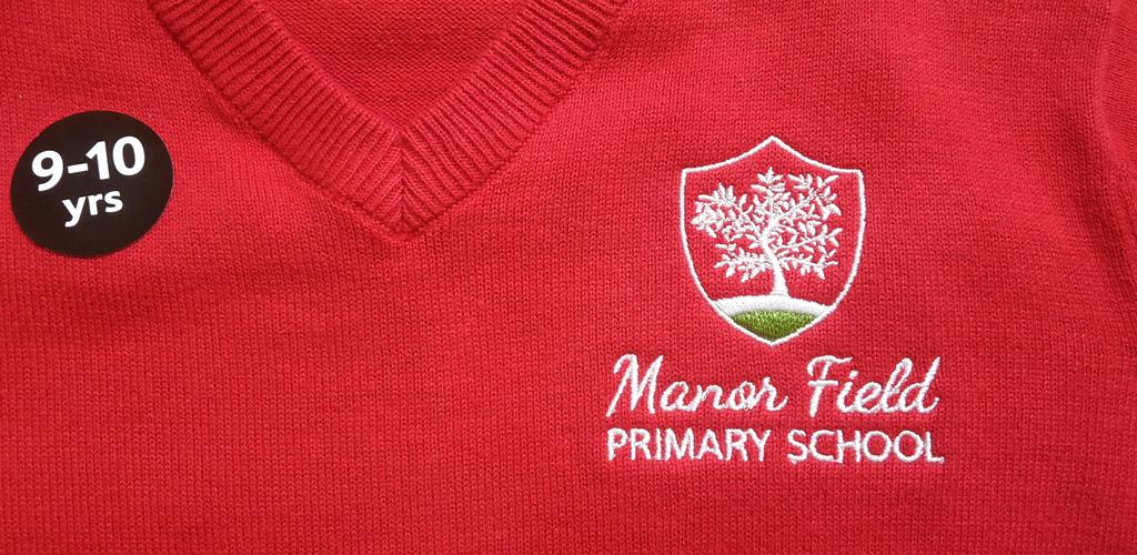 Manor Field School logo printed on school jumper