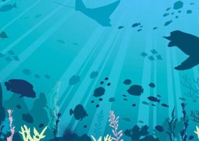 Wall art illlustration for National Marine Aquarium