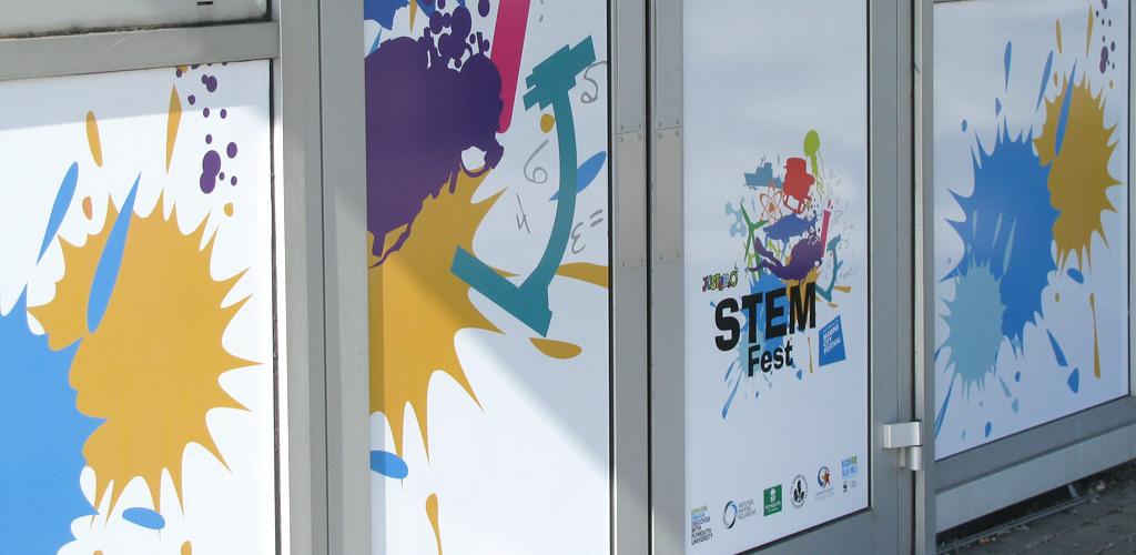 StemFest logo on exterior building
