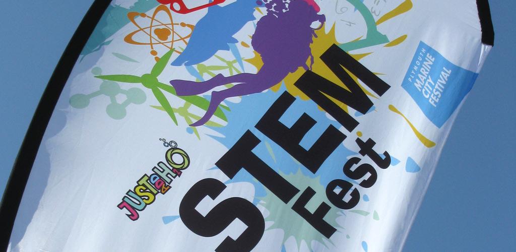 StemFest logo on flag