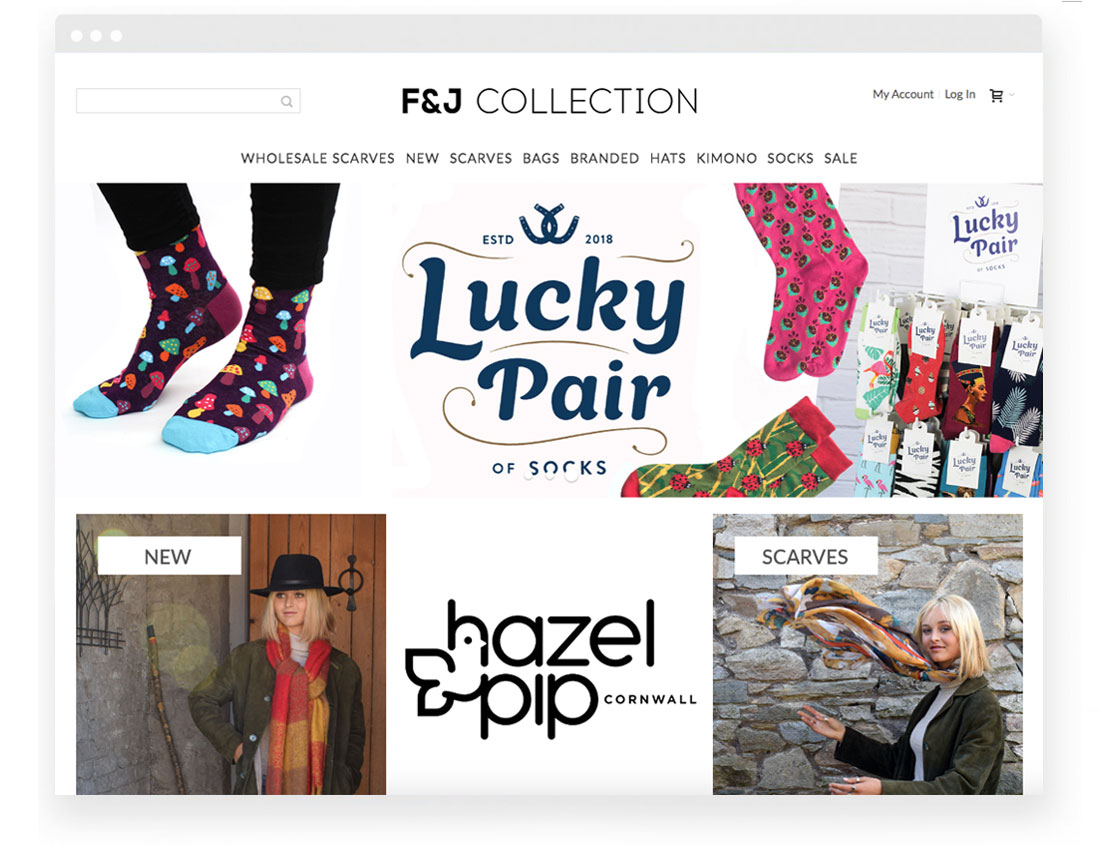 F & J Collection website homepage image